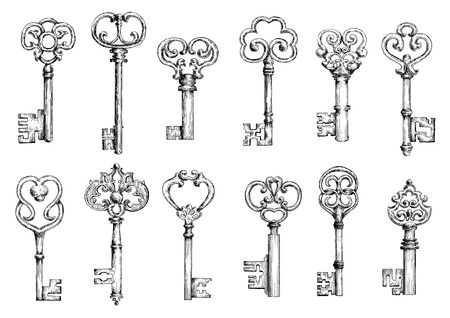 Ornamental vintage skeleton keys sketches, decorated by forged floral motifs and scrollwork. Medieval keys in engraving style for embellishment or decoration design 일러스트