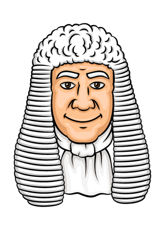 legislation: Cartoon old judge in white wig and collar. Law profession, justice and legislation theme design