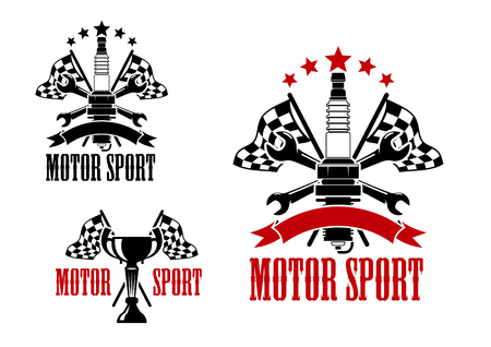 spark plug: Motor race competition icons with trophy cup and spark plug, with crossed racing flags and spanners, decorated by stars, ribbon banners and text Motor Sport Illustration