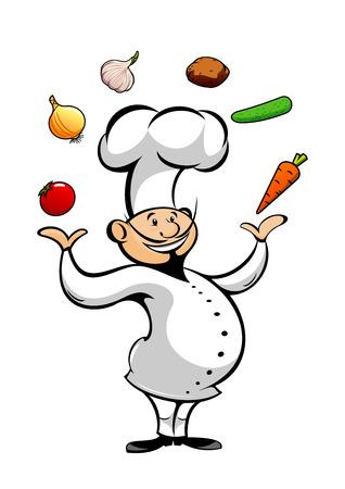 pepino caricatura: Feliz sonriente de dibujos animados cocinero malabares de tomate fresco y cebolla, la zanahoria y el ajo, pepino y verduras fritas. car�cter divertido cocinero en uniforme blanco y el toque para el restaurante o catering tema de dise�o Vectores