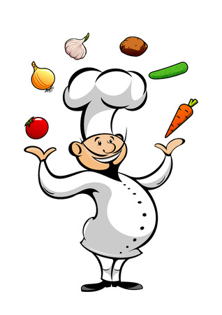 Happy smiling cartoon chef juggling by fresh tomato and onion, carrot and garlic, cucumber and potato vegetables. Funny cook character in white uniform and toque for restaurant or catering theme design Stock Illustratie