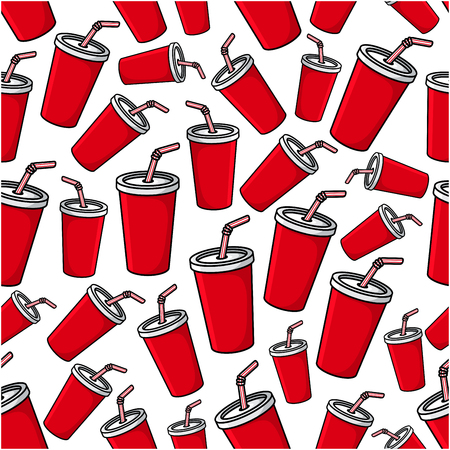 soda: Fast food sweet soda drink seamless pattern of takeaway red paper cups with drinking straws scattered over white background. Fast food cafe or takeaway menu design usage