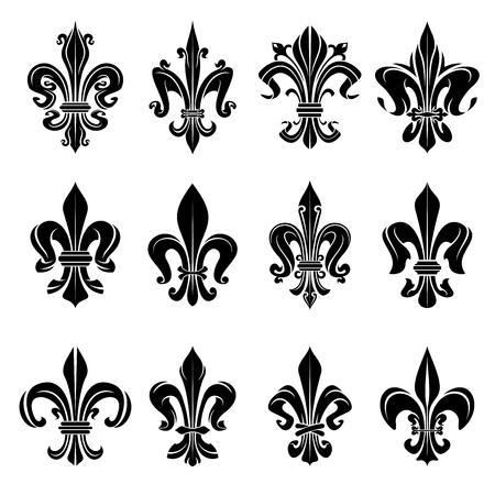 flor de lis: francés elementos de diseño heráldica reales para el escudo de armas, emblema o el diseño medieval con símbolos de la flor de lis negros adornados con adornos florales decorativos