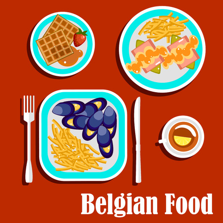 potato chip: Delicious lunch of belgian cuisine with blue mussels, steamed with white wine, served with french fries, witloof with ham and apple sauce, waffles topped with fresh strawberry and honey, cup of black tea with lemon Illustration