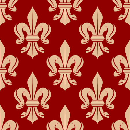 monarchy: Ornate medieval french floral ornament with seamless fleur-de-lis pattern on bright red background. Fabric, textile or interior design Illustration