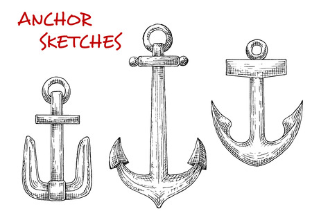 heavy vehicle: Retro sea anchors isolated sketches set. Great for nautical heraldic design, marine and travel themes
