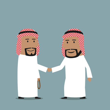 signing contract: Friendly cartoon arab businessmen in national white garments shaking hands. Business concept of partnership, agreement, cooperation, closing deal or signing contract