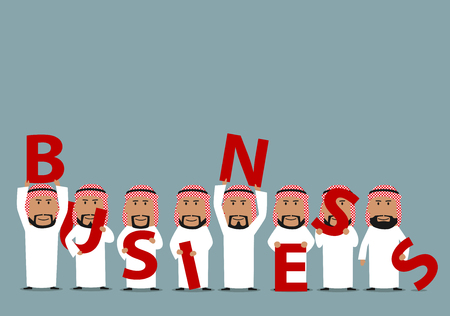 association: Arab businessmen with big red letters are presenting a Business. Concept of business team, presentation, association, partnership and cooperation design