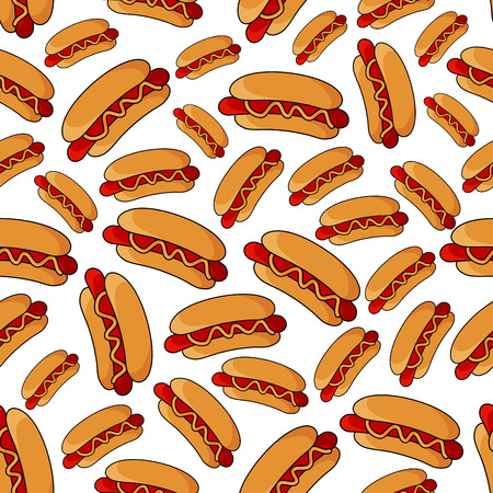 sesame street: Seamless fast food pattern of fresh hot dogs with wheat buns, grilled sausages and spicy mustard sauce over white background. Colorful sandwiches pattern for street food or takeaway menu Illustration