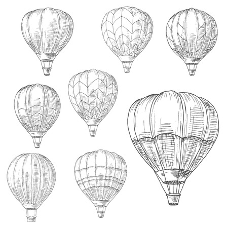 Hot air balloons in flight with decorative inverted teardrop shaped envelopes and wicker baskets. Romantic air travel, adventure or tourism design usage. Retro style sketch vector