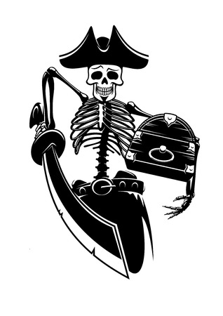 piracy: Pirate captain skeleton guarding the treasure chest with sword. For piracy, mascot, marine and adventure print design Illustration