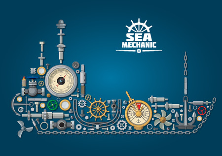 vessel: Ship silhouette made of mechanical parts and nautical equipment with propeller and anchor, chain and rudder, engine order telegraph, portholes and helm, steering system, barometer and ball valves. Sea mechanic design