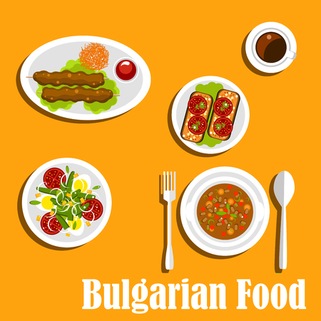 bulgarian: Bulgarian cuisine  nutritious dinner menu with bean soup, egg salad with tomatoes, green peas and onions, kebapche with tomato sauce, fried eggplants topped with sliced tomatoes and coffee. Flat style