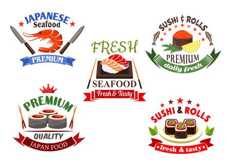 logo poisson: �l�ments de sushi et fruits de mer pour japanese design restaurant de cuisine avec des rouleaux de sushi et nigiri, caviar rouge et le saumon, le thon et les crevettes, encadr�es par des baguettes, des couteaux, ruban banni�res, des �toiles et des couronnes Illustration