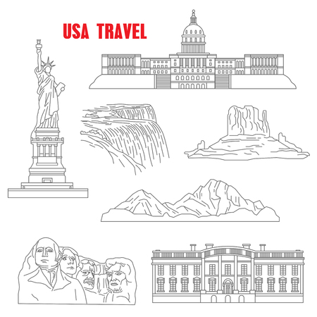 rocky mountains: Famous landmarks of USA for travel design with thin line icons of mount Rushmore national memorial, the statue of Liberty, Grand canyon, Capitol, White House, Niagara falls and Rocky mountains