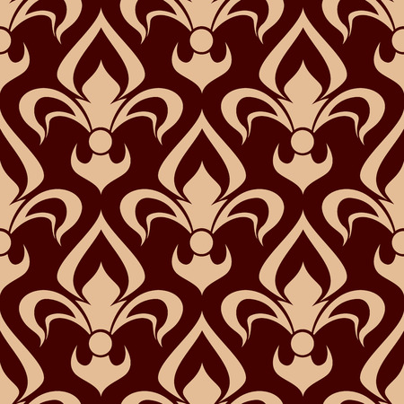 embellishment: Vintage fleur-de-lis seamless pattern of bold beige floral ornament with bulb shaped buds and curved leaves on brown background. Medieval interior, fabric and embellishment design Illustration