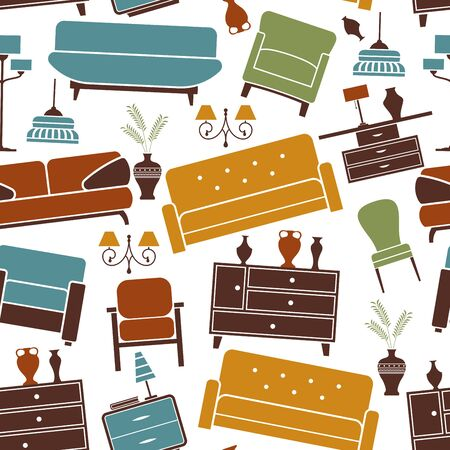 armchairs: Home furniture seamless pattern with sofas and armchairs, chest of drawers, chairs, lamps and vases on white background. Retro pattern in pastel colors for interior accessories, fabric or wallpaper design usage