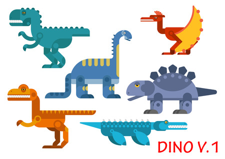 tyrannosaur: Colorful prehistoric dinosaurs with carnivores and herbivores tyrannosaur rex, brontosaurus, stegosaurus, pterodactyl, velociraptor and pliosaur animals. Flat style vector animals