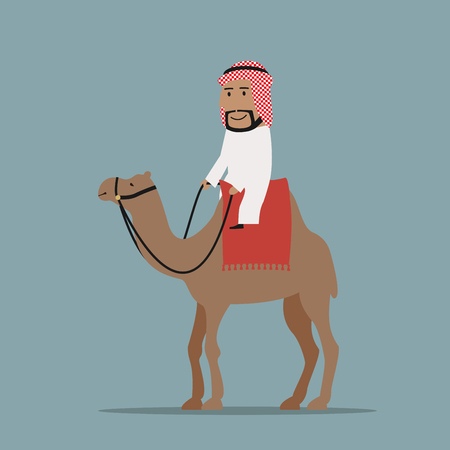 keffiyeh: Happy smiling arab businessman in white thobe and keffiyeh riding on camel, decorated with red carpet. Travel, tourism and dessert transportation themes
