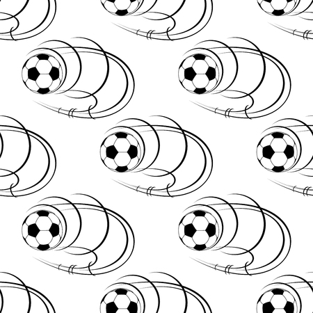 soccer balls: Seamless pattern with flying soccer balls and swirling motion trails. For sport background design