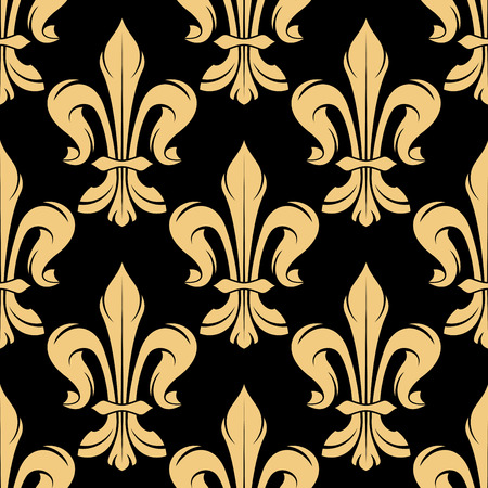 gothic background: Black and golden seamless fleur-de-lis pattern of royal heraldic lily flowers adorned by swirls and leaf scrolls. Nice for gothic background, textile or wallpaper design usage