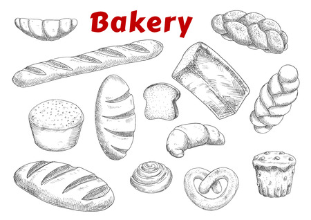 french bakery: Bakery and pastry products sketches with raisins muffin and cinnamon roll, french croissants and baguette, pretzel and braided sweet buns, loaves of wheat, rye and sprouted grains bread