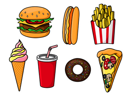 Cheeseburger with beef, cheese and vegetables, slice of pepperoni pizza, hot dog, sweet soda in paper cup, french fries in striped box, chocolate donut topped with sprinkles and ice cream cone. Fast food menu objects Illustration