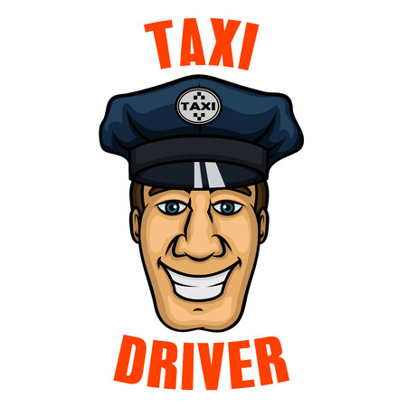service car: Cheerful smiling taxi driver with cartoon young man in blue octagonal peaked cap and checkered taxi sign on cap badge. Transportation service or profession concept Illustration