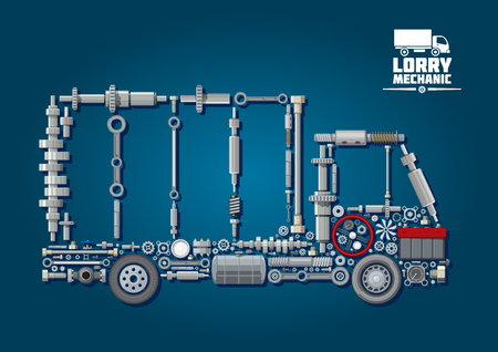 car plug: Mechanical engine parts arranged into silhouette of a truck with wheels, steering wheel, battery, speedometer and fasteners. For lorry mechanic or transportation service design