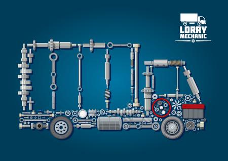Mechanische motoronderdelen gerangschikt in silhouet van een vrachtwagen met wielen, stuurwiel, batterij, snelheidsmeter en bevestigingsmiddelen. Voor vrachtwagen monteur of transport service design
