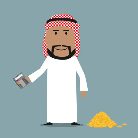 wealth concept: Satisfied happy rich arab businessman using calculator to count his wealth. Business concept of success, wealth, richness, abundance and financial growth Illustration