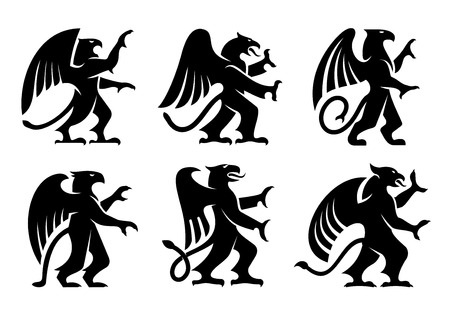 ancient bird: Ancient heraldic griffins symbols of black majestic beasts with body of lion, angel wings and eagle heads. For heraldic design or tattoo Illustration