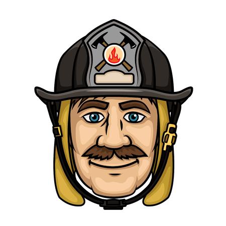 brandweer cartoon: Brave brandweerman in cartoon-stijl met lachende besnorde brandweerman in beschermende kap en zwarte helm met brandweer badge. Hulpdiensten beroep begrip