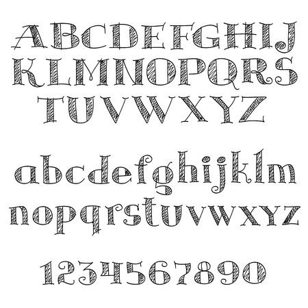 Alphabet letters font with decorative cross-hatched letters and numbers of serif font. Nice for education, typography and page decoration Illustration
