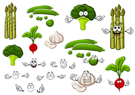 in peas: Healthful cartoon fresh green pea pods with sweet grains, spicy garlic, curly broccoli, pungent red radish and asparagus. Funny vegetables and separate smiling faces Illustration