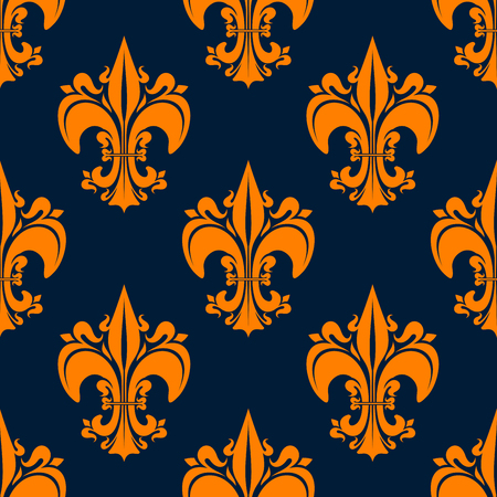 classic interior: Elegant french seamless fleur-de-lis heraldic pattern for classic interior design or medieval theme with orange lily flowers on dark blue background