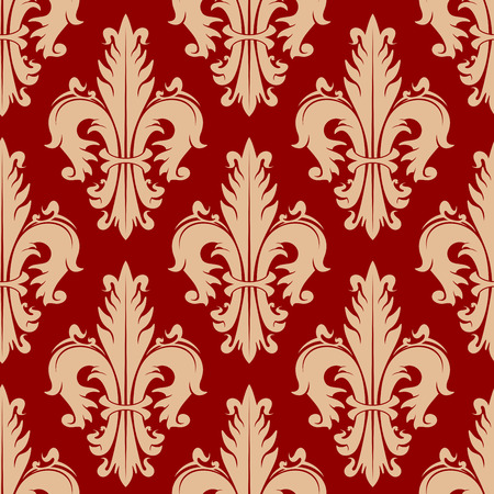 victorian wallpaper: Ancient fleur-de-lis red pattern with seamless ornament of victorian floral elements. Heraldic design for vintage interior, fabric or wallpaper
