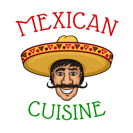 caricatura mexicana: Joyful cartoon mexican chef with mustached male cook in yellow sombrero encircled by caption Mexican Cuisine. For restaurant of mexican cuisine and national food theme