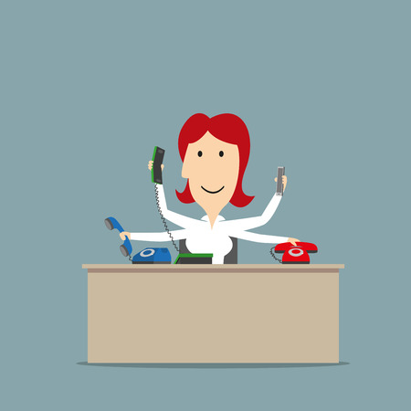 many: Multitasking smiling secretary successfully using a several telephones at the same time. Business concept of multitasking or successful business Illustration