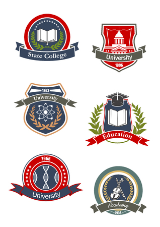 College, university, school and academy signs or icons design with science, music, medicine and culture education symbols of DNA, books, atoms, violin, and library building. Adorned by ribbon banners, wreaths and stars