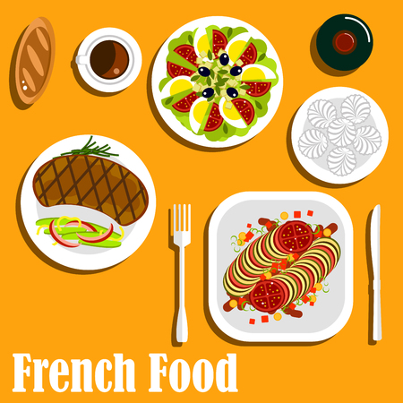 grilled vegetables: French cuisine main course and dessert icon with dishes of steak and fries with grilled beef and fried vegetables, baked ratatouille stew, egg salad with fresh tomatoes, olives, cheese and herbs, bottle of red wine with meringue cakes, coffee and bread bu