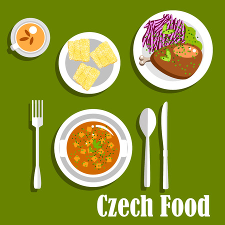 Czech cuisine lunch dishes with tripe soup with potatoes, roast duck, served with braised red cabbage, trdelnik cakes and herbal tea cup