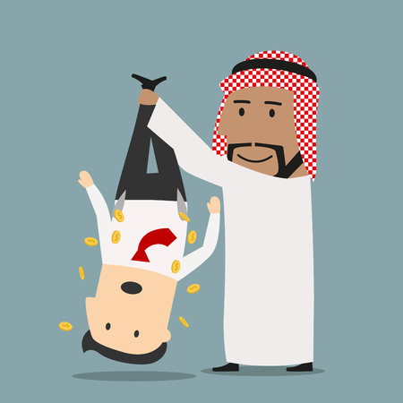 robbing: Sly smiling cartoon arab businessman robbing his european businessman, shaking out money from his pockets. Business concept design