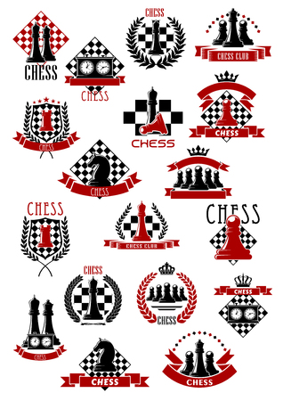 Chessboards and pieces  for chess game icons design with king and queen, rook and knight, pawn and clock elements, encircled by heraldic laurel wreaths and ribbon banners, stars and crowns