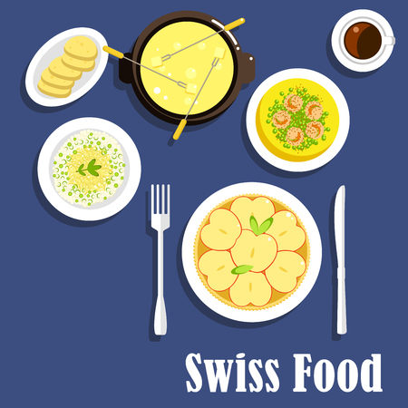 fondue: Swiss national cuisine with apple tart, risotto with cheese, spicy shrimps served with green pea, full cheese fondue with long stemmed forks and cup of coffee. Flat menu design