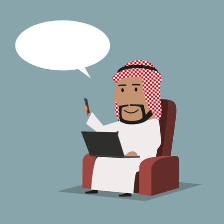office use: Cartoon confident arab businessman connected smartphone to laptop computer using wireless technology with thought bubble above his head. Business concept of wireless technology, internet, modern network or data sharing