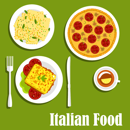 mozzarella: Dishes of italian cuisine with pizza topped with mozzarella, mushrooms and tomatoes, hot sandwiches with meatballs and tomato, agnolotti ravioli with melted butter sauce Illustration