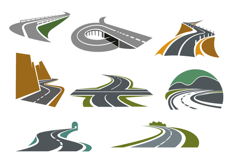 on ramp: Transportation emblems and traveling symbols design with crossroad, highway with ramp, mountain roads, tunnel, rural bypass freeway icons