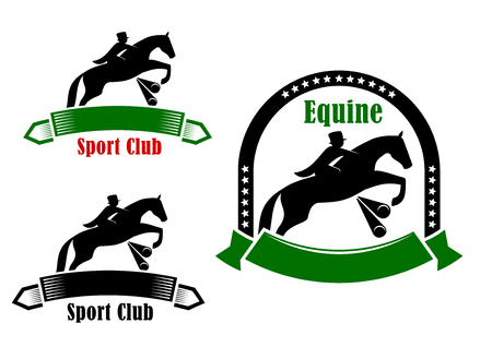 tourney: Retro sporting emblems of equestrian club design with elegant jockey and horse jumping a hurdle, framed by ribbon banners and stars
