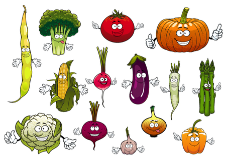 Farm cartoon ripe tomato and corn cob, onion and eggplant, broccoli and pumpkin, bell pepper and garlic, common bean and beet, radish and cauliflower, daikon and asparagus vegetables characters